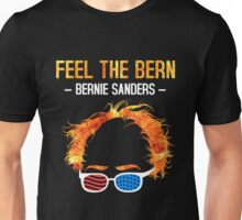 Feel The Bern - Bernie Flaming Hair Shirt with Patriotic Glasses Unisex T-Shirt