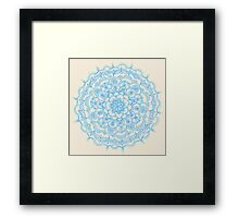 Pale Blue Pencil Pattern - hand drawn lace mandala Framed Print