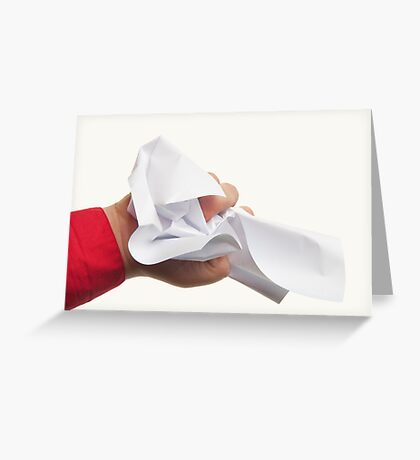 Crumpled paper in hand Greeting Card