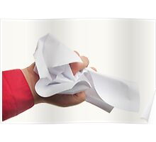 Crumpled paper in hand Poster