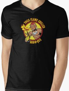 Yoga Flame Grilled BBQ Mens V-Neck T-Shirt