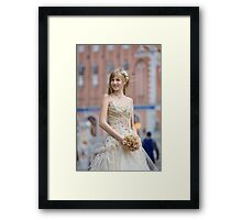 Bride with cream-colour rose bouquet Framed Print