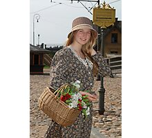 Girl with basket of flowers Photographic Print