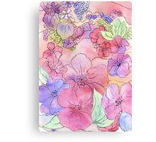 Floral Watercolour Collage 3  Canvas Print