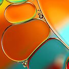 Oil &amp; Water Abstract in Orange by Sharon Johnstone