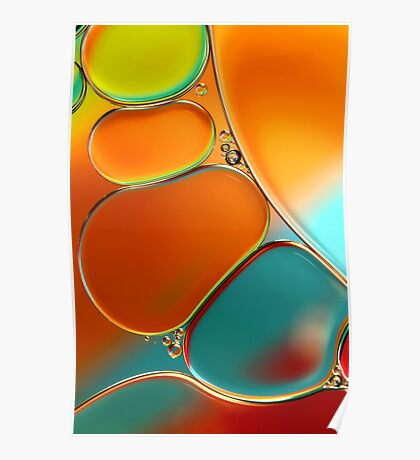 Oil & Water Abstract in Orange Poster