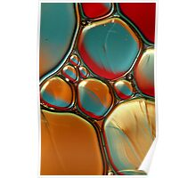 Oil & Water Abstract in Orange II Poster