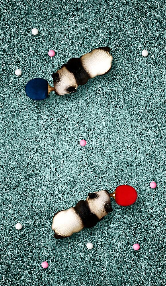 Animal Art - Ping Pong Pandas by Michael Murray