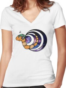 Wormhole Worm Women's Fitted V-Neck T-Shirt