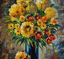 YELLOW AND RED FLOWERS - LEONID AFREMOV by Leonid  Afremov