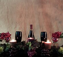 Candles, Wine, Grapes and More Grapes by Sherry Hallemeier