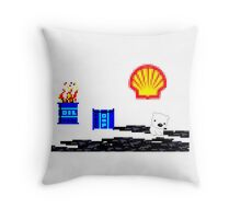 SHELL ruining the arctic for everyone!  Throw Pillow