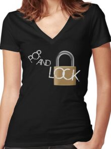 Pop and Lock Women's Fitted V-Neck T-Shirt