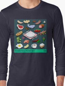 Diet Set Food Isometric Long Sleeve T-Shirt