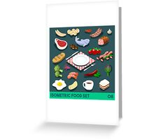 Diet Set Food Isometric Greeting Card