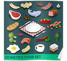 Diet Set Food Isometric Poster