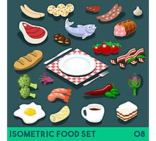 Diet Set Food Isometric Photographic Print