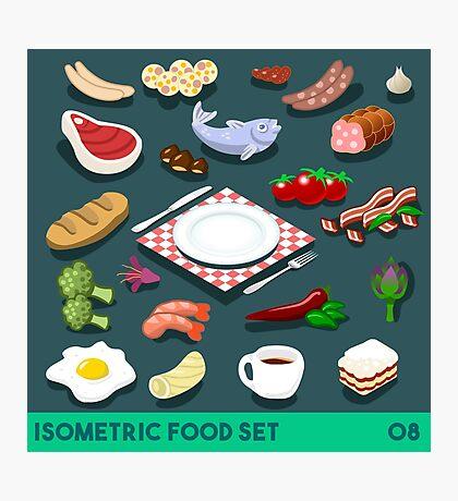 Diet Set Food Isometric Photographic Print