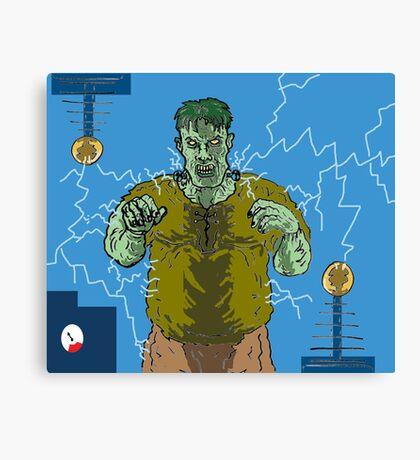 Frankenstein's monster gets the juice ! ( Frank's zapper ) Canvas Print