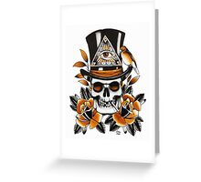 Slash Skull - skull and roses tattoo Greeting Card