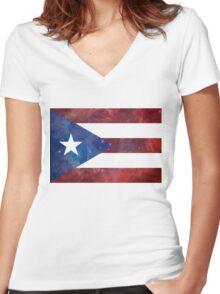Puerto Rico Bandera Nebula Women's Fitted V-Neck T-Shirt
