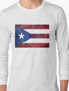 Puerto Rico Bandera Nebula Long Sleeve T-Shirt