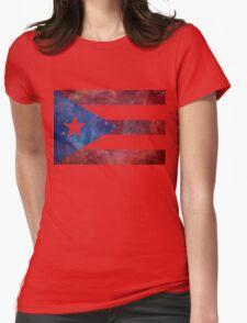 Puerto Rico Bandera Nebula Womens Fitted T-Shirt