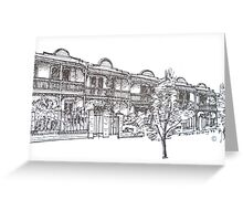 Kensington, Melbourne. Bendall St houses. Greeting Card