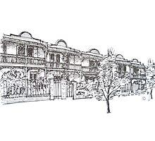 Kensington, Melbourne. Bendall St houses. Photographic Print