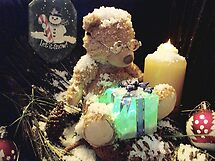 Tiny Ted wrapping parcels in the Snow by waxyfrog