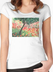 Meadow with Poppies Women's Fitted Scoop T-Shirt