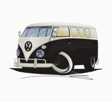 VW Splitty (11 Window) Black One Piece - Short Sleeve
