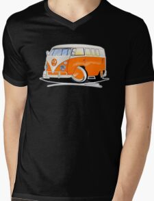 VW Splitty (11 Window) Orange Mens V-Neck T-Shirt