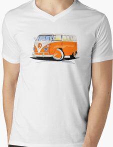 VW Splitty (11 Window) Orange Mens V-Neck T-Shirt