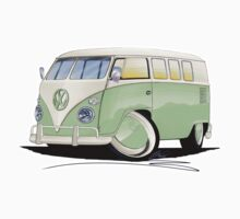 VW Splitty (11 Window) Pale Green Kids Tee