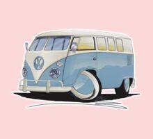 VW Splitty (11 Window) Pale Blue One Piece - Short Sleeve