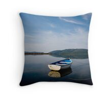Boat on Lagoon 1 Throw Pillow