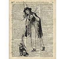 Witch with Broom and Cat Haloowen Party Decoration Gift in Vintage Style Photographic Print