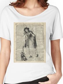 Witch with Broom and Cat Haloowen Party Decoration Gift in Vintage Style Women's Relaxed Fit T-Shirt