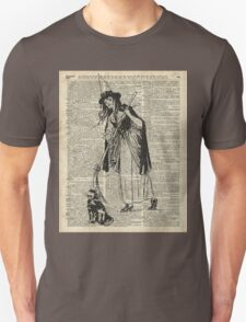 Witch with Broom and Cat Haloowen Party Decoration Gift in Vintage Style T-Shirt