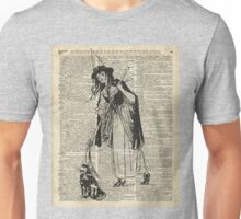 Witch with Broom and Cat Haloowen Party Decoration Gift in Vintage Style Unisex T-Shirt