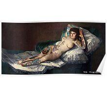 Maja's Goya as a suicide girl Street Art  Poster