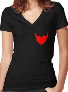 Satan's Heart Women's Fitted V-Neck T-Shirt