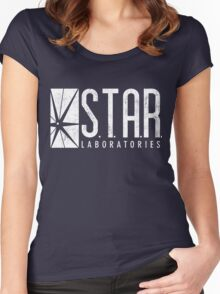 STAR Labs - White - Grunge Women's Fitted Scoop T-Shirt