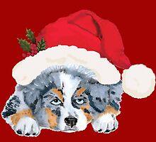 Blue Merle Aussie Christmas Puppy by Barbara Applegate