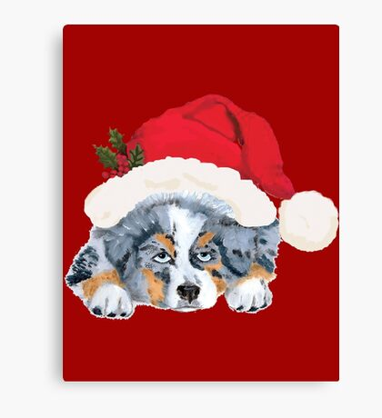 Blue Merle Aussie Christmas Puppy Canvas Print
