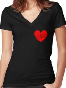 Musician's Heart Women's Fitted V-Neck T-Shirt
