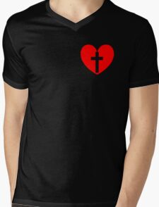 Christian Heart Mens V-Neck T-Shirt