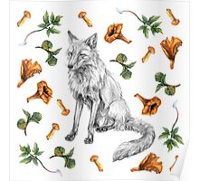 Sitting fox with leaves and mushrooms Poster