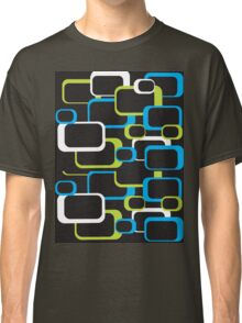 Lime Green, Turquoise and White Retro Square Classic T-Shirt
